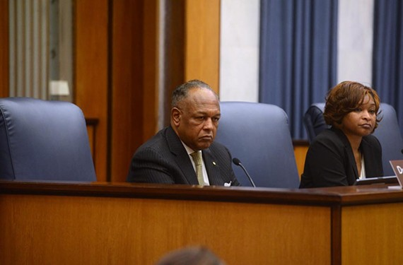 Richmond Mayor Dwight Jones, with City Council President Michelle R. Mosby, laid out his $689 million budget proposal Friday.