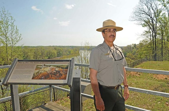 Richmond National Battlefield Park's superintendent, David Ruth, stands at Drewry's Bluff in Chesterfield County, where a Civil War battle took place in May 1862. - SCOTT ELMQUIST