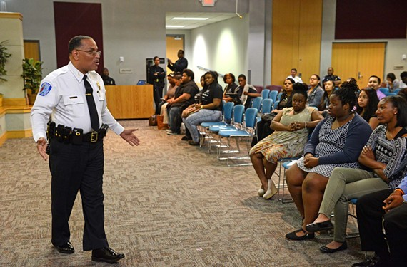 Richmond Police Chief Alfred Durham speaks at a Young Adult Police Commission forum on last Thursday. Fighting an increase in youth violence, police and school officials are trying to find better ways to engage the city's teens and preteens.