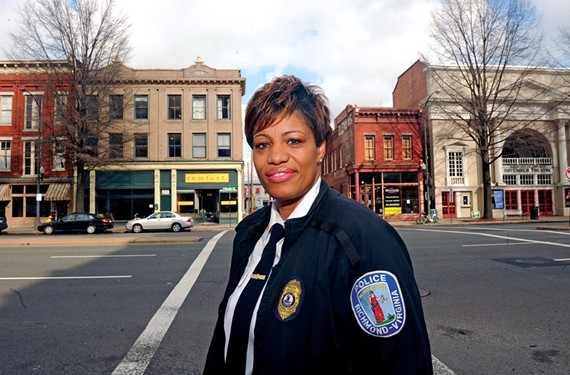 "Richmond police Maj. Odetta Johnson says her role as the force's first LGBT liaison sends a simple message: ""We are an inclusive city. We are moving forward and we want you to move forward with us."" - SCOTT ELMQUIST"