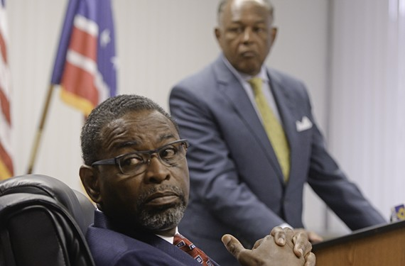 Richmond's recently resigned chief administrative officer, Byron Marshall, and Mayor Dwight Jones.
