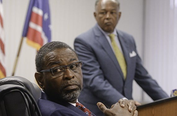 Richmond's recently resigned chief administrative officer, Byron Marshall, and Mayor Dwight Jones. - SCOTT ELMQUIST