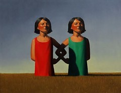 "Rob Browning: ""Twins in Field"" 16""x 20"" Oil on Canvas."