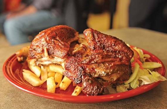 Rocoto's rotisserie chicken wins us over with its juicy spice and distinctive char. - SCOTT ELMQUIST