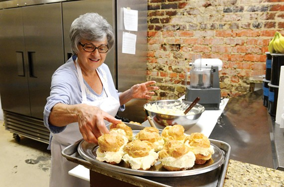 Rusty Fallen changed careers to become a restaurateur and now has a following for her Lebanese cooking and family-recipe cream puffs at Aziza's. - SCOTT ELMQUIST