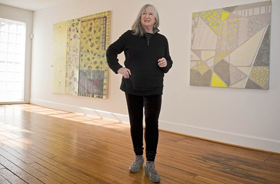 Sally Bowring, a painting professor at VCU, explores her surroundings in an exhibit of abstract work in which rhythm, color and form take precedence over specific representation.