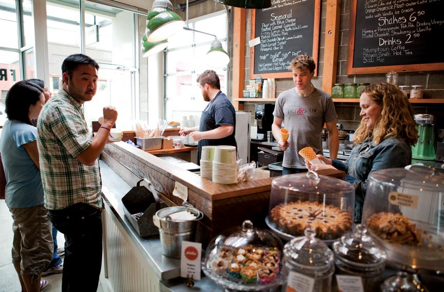 Salt & Straw in Portland, Ore. often attracts lines down the block for exotic flavors of ice cream and a well-orchestrated sampling program while customers wait. - LEELA CYD
