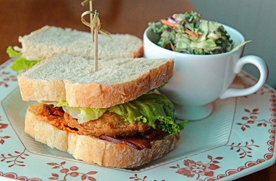 Sandwiches at Lulabelle's tend to be traditional with a twist, such as this fried green tomato sandwich with a side of super slaw.