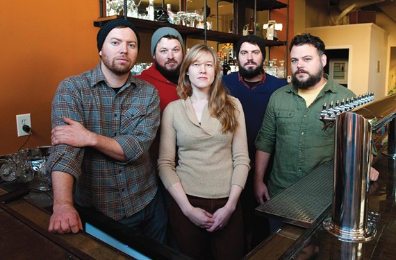 Sara Kerfoot is flanked by Jay Bayer, Adam Hall, Chris Elford and Patrick Moran at Saison, opening soon in Jackson Ward and promising something distinctive in an ever-savvier food city. - SCOTT ELMQUIST