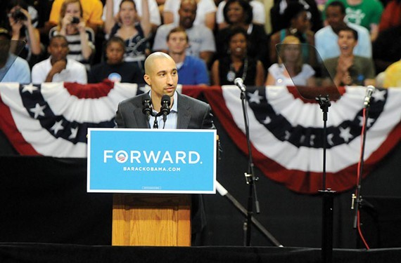 Shaka Smart emcees President Obama's 2012 rally at the Siegel Center. The school is now looking for his replacement after Smart caught a private plane to Texas. - SCOTT ELMQUIST