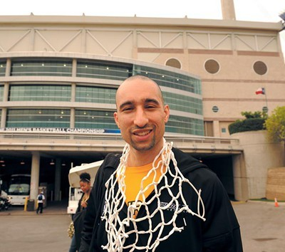 Shaka Smart, still wearing the net after beating Kansas to win Southwest Regional championship in San Antonio last year. - SCOTT ELMQUIST