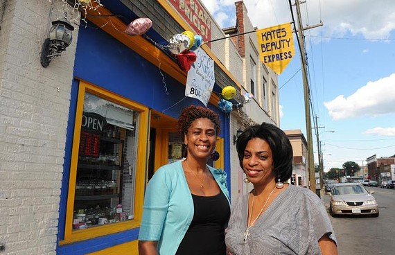 Sharon Scales and Janet Johnson, sisters and co-owners of Kate's Beauty Express, want the city to help improve Brookland Park Boulevard. - SCOTT ELMQUIST