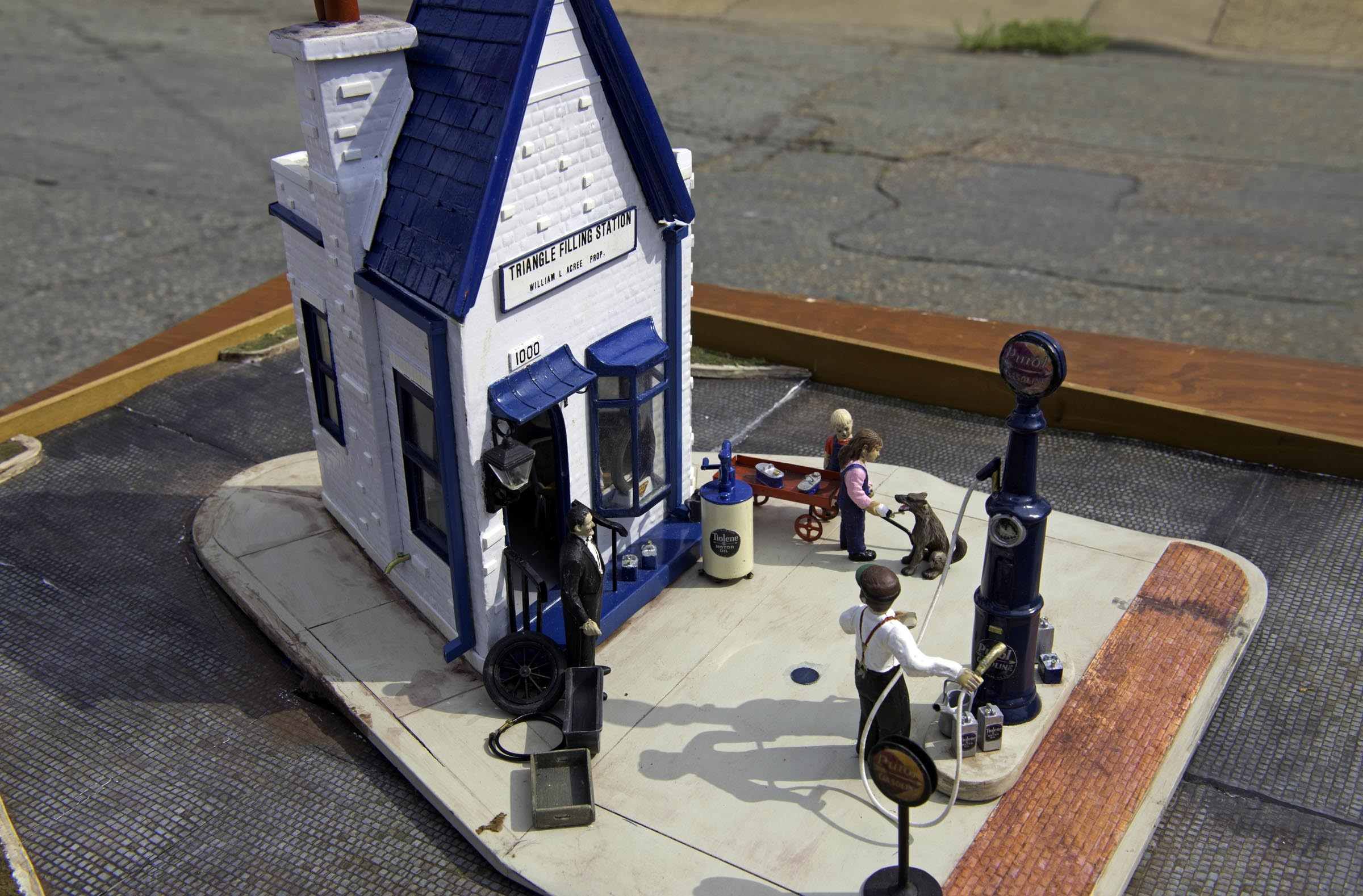 "Shaver says that building models has provided a lifetime of release because she could ""build them any way [she] wanted."" Pictured is Triangle filling station. - SCOTT ELMQUIST"