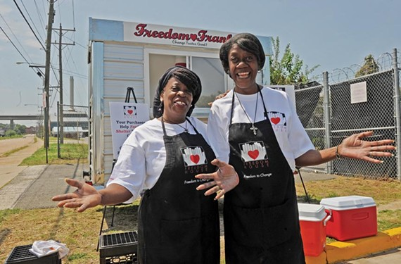 Shelter residents Wyouka Clay and Yvonne Norman are serving up dogs at Freedom Franks, a food cart owned by homeless-services organization Freedom House. - SCOTT ELMQUIST