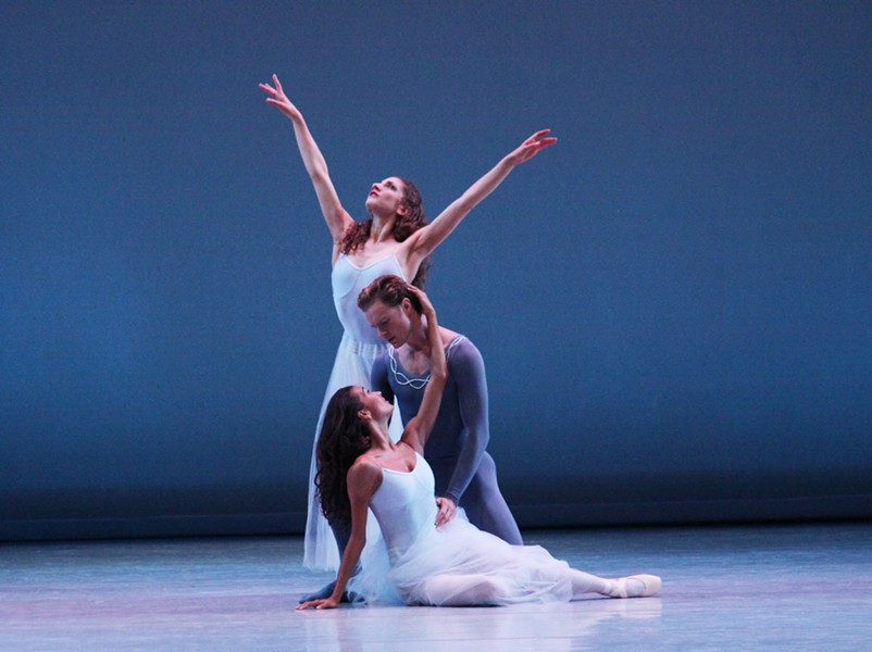 Shira Lanyi, Phillip Skaggs and Maggie Small in Serenade. Choreography by George Balanchine. © The George Balanchine Trust.