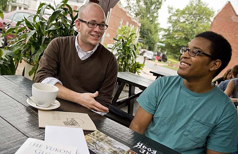 """Sink/Swim Press founders James Moffitt, left, and Morris Reese don't make a lot of money on the literature and music their company releases, but that's not the reason they do it. """"We want to make good products, give something back to Richmond,"""" Reese says. - ASH DANIEL"""