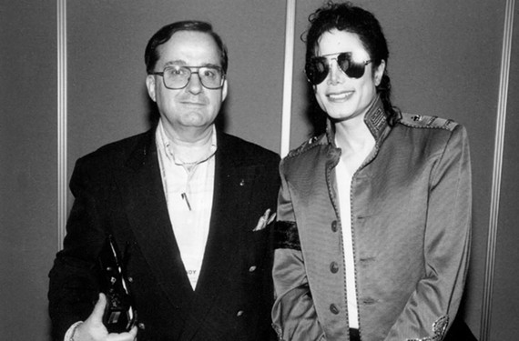 Sony Music executive Andrew Piretti poses for a photo alongside Michael Jackson.