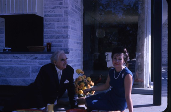 Soon after the house was completed in 1965, architect Neutra and his client, Inger Rice, visit in the sunken conversation area, one of Neutra's favorite features. - SCIENCE MUSEUM OF VIRGINIA FOUNDATION