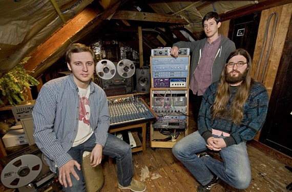 Spacebomb Records founders Dean Christesen, Jesse Medaries and Matthew E. White (in 2011) started the label in this attic studio. - ASH DANIEL