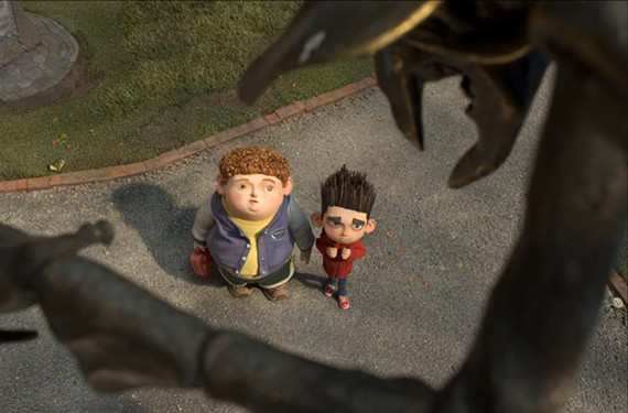 """Spike-haired Norman, here with best friend Neil, shrinks from his supernatural calling in """"ParaNorman."""" - LAIKA INC."""