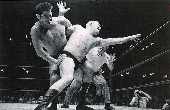 Steinborn, right, takes on Antonio Inoki, the famed Japanese wrestler. Steinborn bleached his hair to wrestle in Japan, where he says blond hair meant more money.