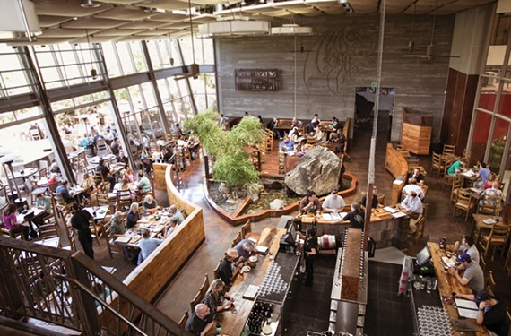 Stone Brewing Co.'s restaurant in Escondido, California features lots of windows and local fare.