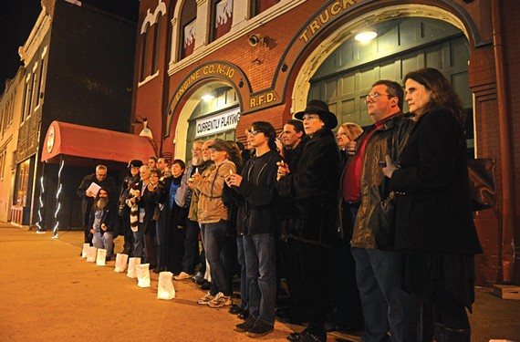 "Supporters of Carol Piersol line the Firehouse Theatre in a silent protest last week during the opening of ""Zhe: [noun] Undefined."" The traveling show wasn't produced by Firehouse. - SCOTT ELMQUIST"