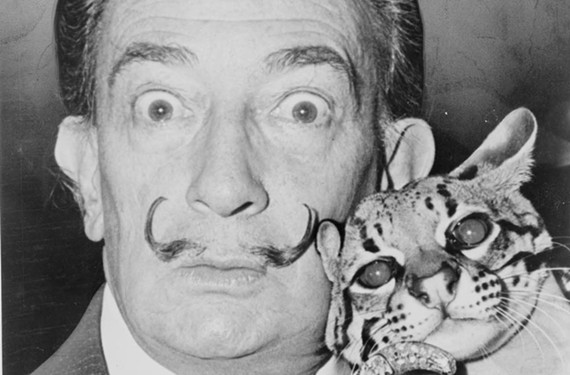 Surrealist master Salvador Dali with his pet ocelot, Babou. Richmonders invited the Spanish-born artist to design a monument to Confederate Capt. Sally Tompkins in 1966.