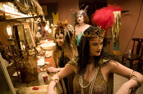 Susan Gardner, a Richmond native who studied theater at Virginia Commonwealth University, and Kendra Lansing prepare in their trailer for a racy burlesque scene. The film is likely to get Oscar nods for cinematography and makeup. - FRANCINE DAVETA PHOTOGRAPHY
