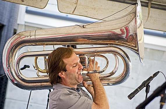 "Technically, No BS member Stefan Demetriadis plays the sousaphone, but most people simply know it as the tuba. Trumpeter and saxophonist Marcus Tenney refers to it as ""the rocket launcher."" - ASH DANIEL"