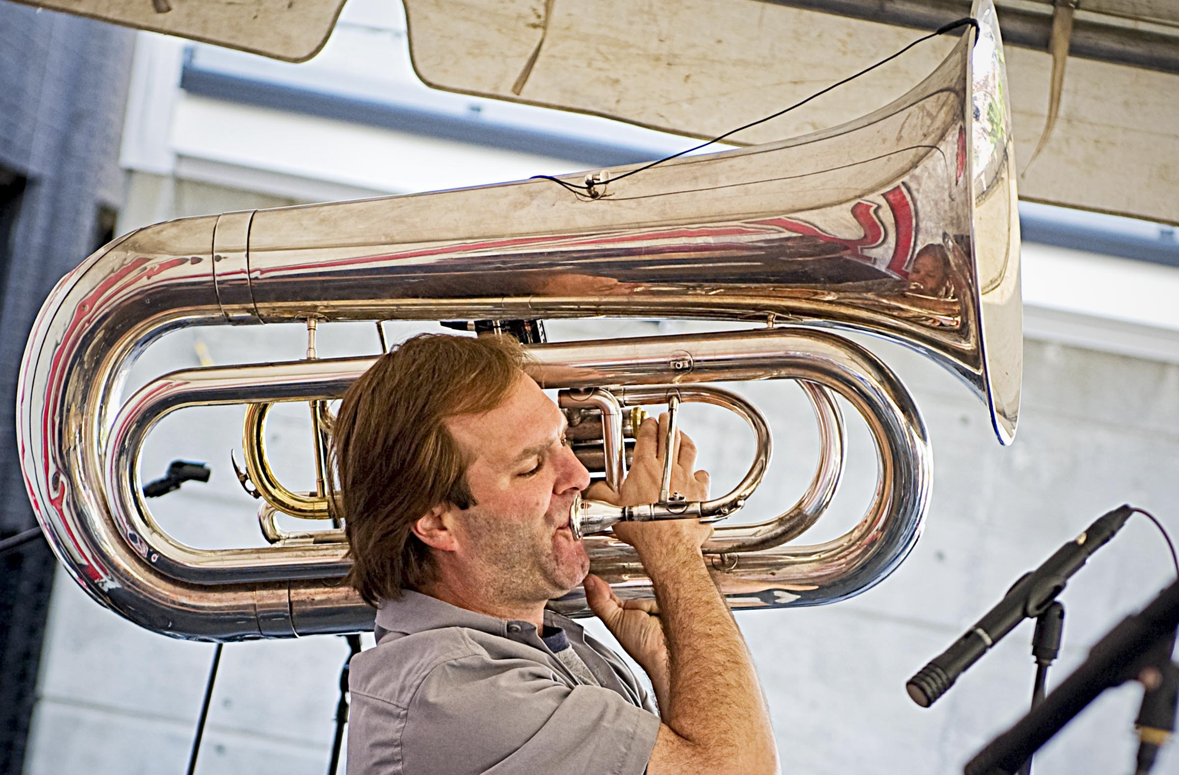 """Technically, No BS member Stefan Demetriadis plays the sousaphone, but most people simply know it as the tuba. Trumpeter and saxophonist Marcus Tenney refers to it as """"the rocket launcher."""" - ASH DANIEL"""