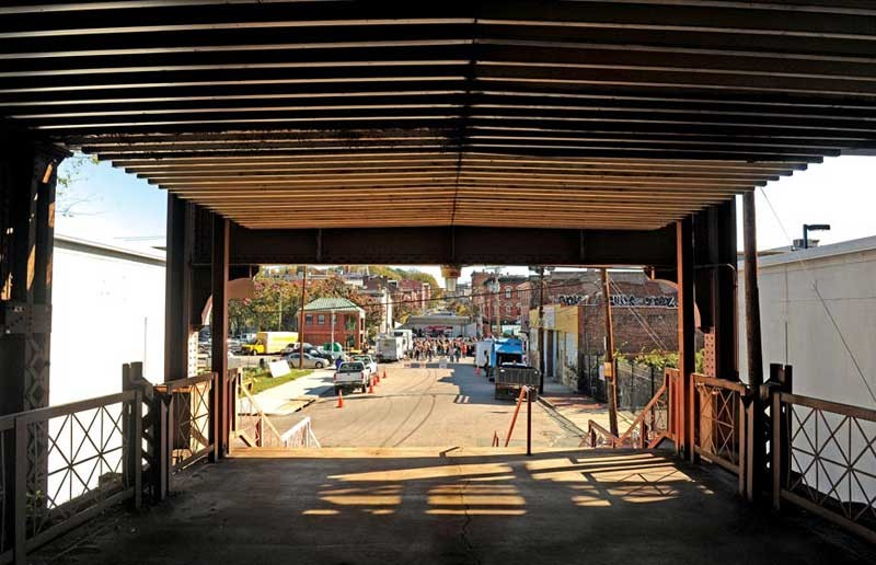 The $28.9 million renovation of the Main Street Station train shed includes a ramp from Franklin Street, allowing access for pedestrians and bicyclists. - SCOTT ELMQUIST