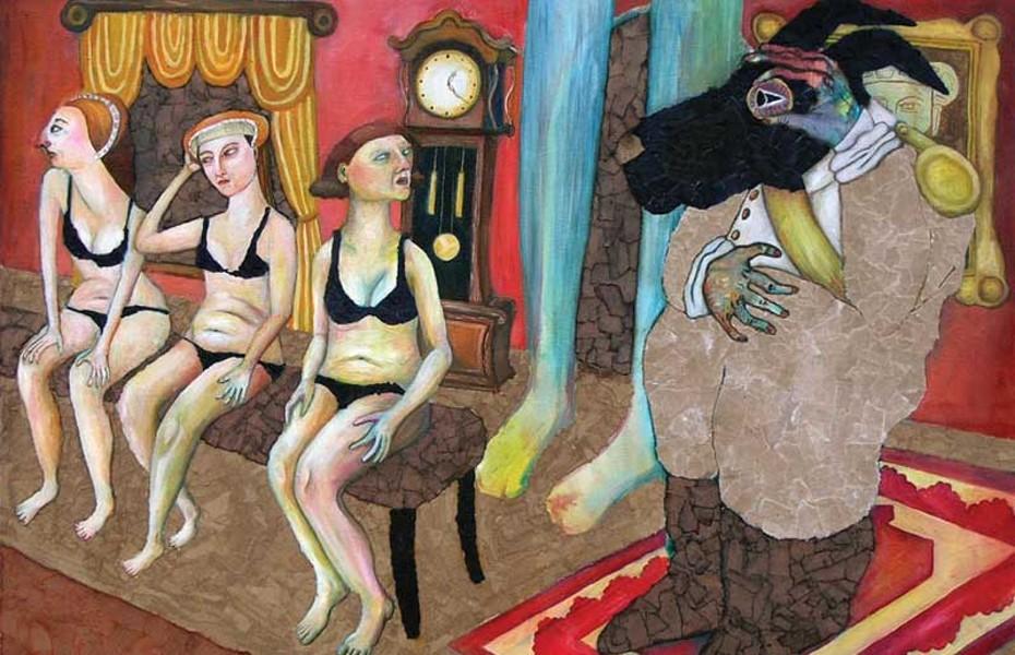 "The ""Animal Dance"" exhibit celebrates familial artistic vision. ""Three Women"" by daughter Jordan Bruner."