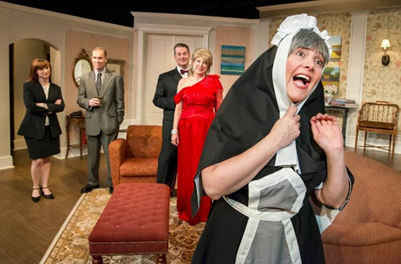 The antic energy of Jacqueline O'Connor doesn't quite save the character of Myra the maid. In the background: Liz Blake White, Michael Hawke, Joe Pabst and Melissa Johnston Price. - JOHN MACLELLAN