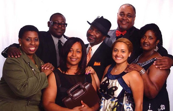"The cast of ""Amen Corner"" goes to church. Front row, left to right: Verlean Randolph, Christie Berry, Elaine Kevonnie and Jamemia Baskerville. Back row: Antonio Bowman, Tony Cosby and Jacob Taylor."