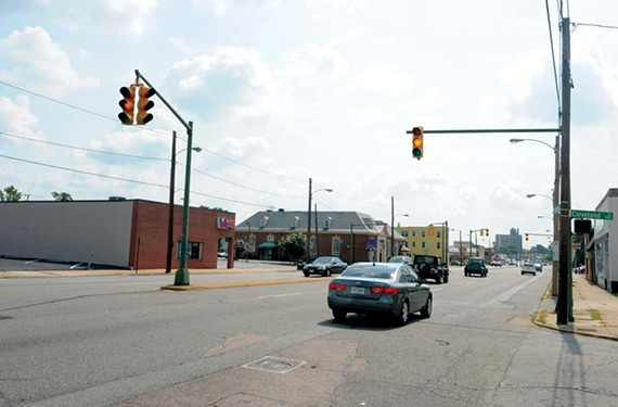 The city is considering whether to remove two traffic signals on West Broad Street — at Cleveland Street and Summit Avenue. - SCOTT ELMQUIST