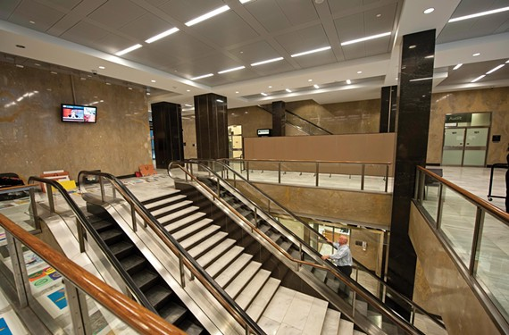 The city is looking to give a modest facelift to the City Hall lobby, a dim, cramped, over-marbled space interrupted by escalators.