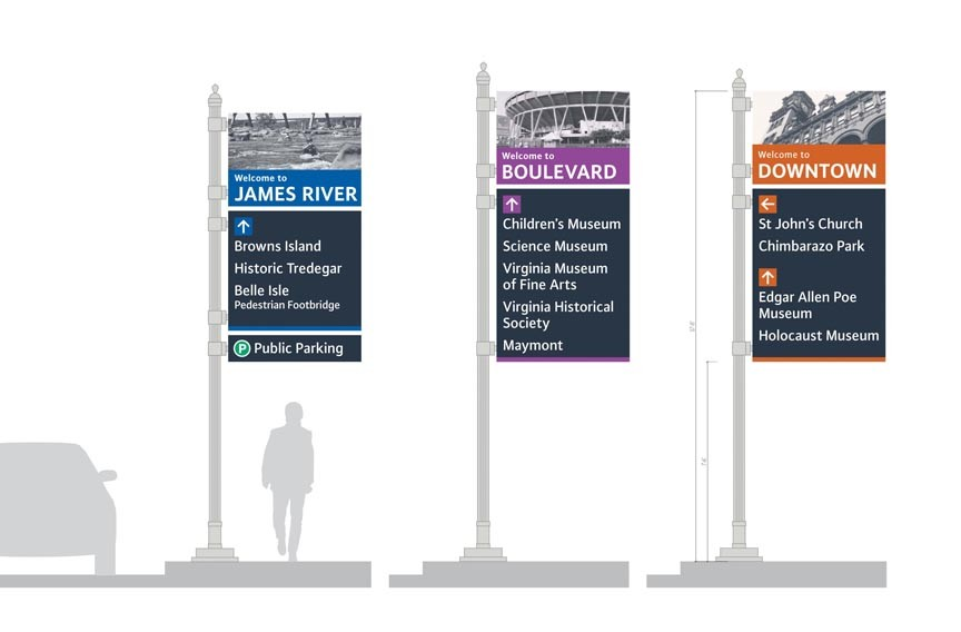 The city's new way-finding signs are designed to help visitors figure out where they are, where to park and what to see.