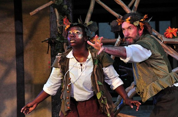 """The energetic Raven Wilkes as Puck and John Moore as Oberon in Henley Street Theatre and Richmond Shakespeare's """"A Midsummer Night's Dream"""" play through July 6."""