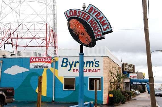 The famous Byram's sign, long seen on Broad Street, now is in storage in Chester. - SCOTT ELMQUIST