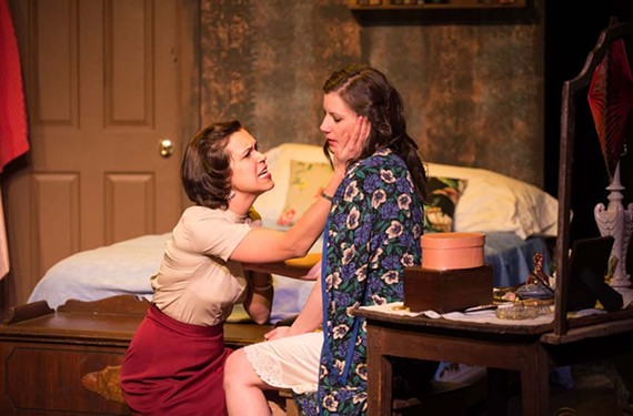 "The famous stage character Blanche DuBois, played by Bianca Bryan, consoles her sister, Stella, played by Lauren Marie Hafner, in the Firehouse Theatre Project's latest take on Tennessee Williams' ""Streetcar Named Desire."""