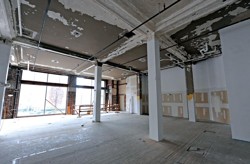 The first-floor space in the Berry-Burk building as it appears in December, before construction commences.