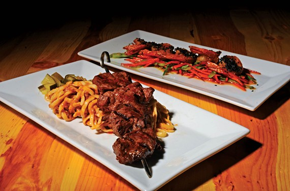 The hanger kebab and firecracker shrimp at Social52 indicate the comfort food menu's strengths in the former Avalon in the Fan. - SCOTT ELMQUIST