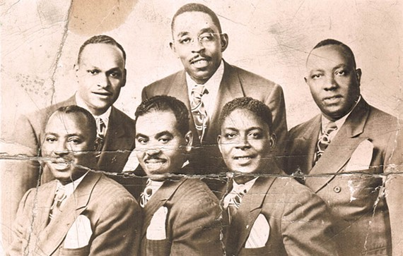 """The Harmonizing Four engaged in the 1940s equivalent of social networking. """"We started getting the names of groups, like the Soul Stirrers in Chicago,"""" Lonnie Liston Smith Sr. said in 1986. """"We'd stay with them a week or two and then they'd come here. … That's how we got known so well across the country, partnering with other groups."""" From left, Levi Hansley, Vance Joyner, Lonnie Liston Smith Sr., Thomas Johnson, founding member John Scott and """"Gospel Joe"""" Williams. - COURTESY OF THE SMITH FAMILY"""