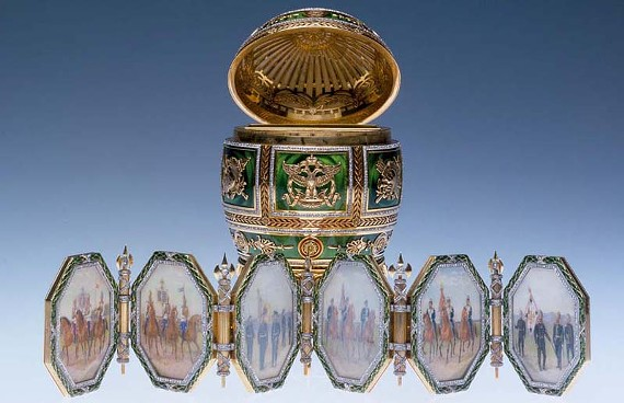 """""""The Imperial Napoleonic Egg"""" (1912) is one of the eye-grabbing creations displayed in the new """"Fabergé Revealed"""" exhibit.  """"This is truly the public's best opportunity to see more great Fabergé in one place at one time than has been possible in 15 years,"""" says the director of the Virginia Museum of Fine Arts, Alex Nyerges."""