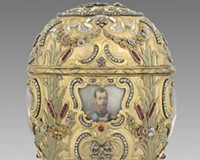"""The """"Imperial Peter the Great Easter Egg"""" (1903), commissioned to mark the bicentennial of St. Petersburg, was acquired by Virginia Museum of Fine Arts benefactor Lillian Pratt from Alexander and Ray Schaffer in the 1930s. Today, Mark Schaffer (below) is a director at A La Vieille Russie, which his family still owns."""