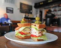 The Jimmy K has smoked turkey with avocado, sprouts, bacon, swiss and Duke's mayo on multigrain bread. It's named for Jimmy Koontz, who owns a body shop near Lunch in Scott's Addition.
