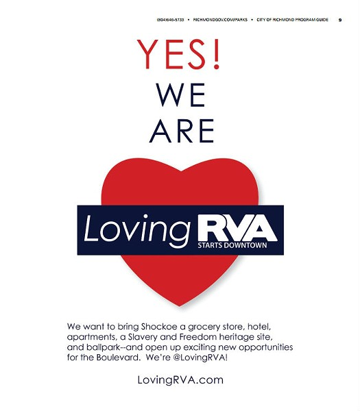 The LovingRVA advertisement as it appeared in the city's Winter Spring Parks and Recreation program guide.