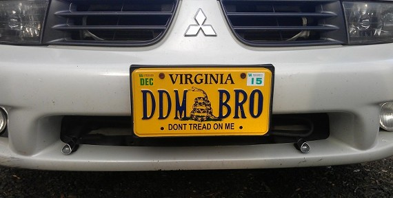"The personalized plate on this vehicle refers to an anti-Big Brother message. Translation: ""Don't Drone Me, Bro."""
