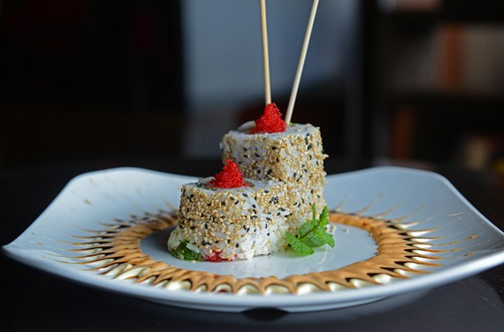 The poker roll at Haiku Sushi features white tuna, yellowtail, salmon, red caviar, seaweed salad and white sesame seeds. It's one of the highlights at the sleek and welcoming new spot in the former Sensi. - SCOTT ELMQUIST